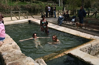 one of the man made baths at san casciano dei bagno tuscany